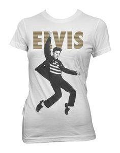 Elvis Presley Jumping Womens T-Shirt - This womens white t-shirt, features a black and white image of a jumping Elvis Presley printed on its front, beneath his name printed in large gold letters.