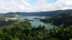 Lagoa das Sete Cidades Fun Fact: This twin lake of the Azores, an archipelago of Portugal, was formed by the crater of a now dormant volcano. Although technically one body of water, the lake is known as the Blue Lake and the Green Lake, as each side reflects the sunlight as a different color.