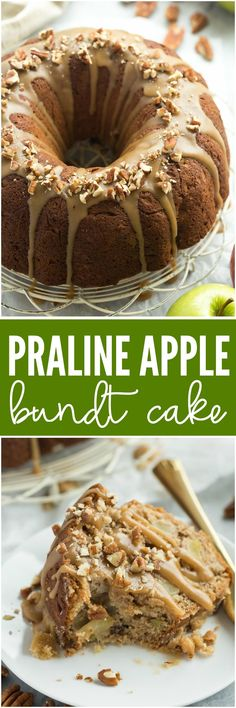 Praline Apple Bundt Cake is loaded with apples, pecans and covered in a brown…