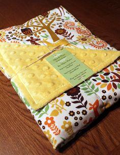 Scandinavian Woodland Animals Baby Receiving Blanket in Cream, Baby Shower Gift, Stroller Blanket, Swaddle Blanket with Baby Deer and Owls $34