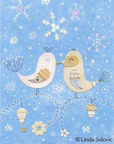 Let It Snow Love Birds designed by Linda Solovic