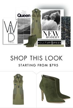 """""""She's A Wild Thing"""" by promisemethemoon ❤ liked on Polyvore featuring Post-It, Altuzarra, Gianvito Rossi, GREEN, armygreen, wildthing, militarygreen and fallstyle"""