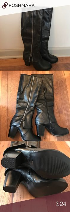 """Black Boots W/ Silver Zipper Accents ~ Sz 7.5 NEW! Black boots by 2LipsToo. These boots are brand new and have never been worn! They are in flawless condition! Size 7.5 and considered """"wide calf"""" (opening circumference is approx. 15 inches). Really cute boots! Fold-over leather look with decorative silver outer zipper detail with functional zipper on inside (as seen in pics) and stretch panel on back. Approx. 3 inch heel. Comment with any questions! Thanks! 😊 2LipsToo Shoes Heeled Boots"""