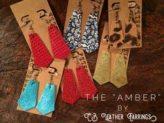 The new Amber leather earrings from CB Leather Earrings. Lightweight and nickel Free jewelry. Find us on Facebook!