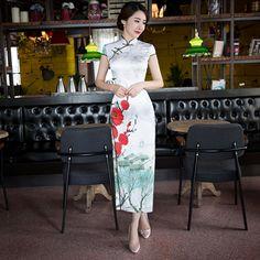 Cheongsam strapless satin dress            https://www.ichinesedress.com/
