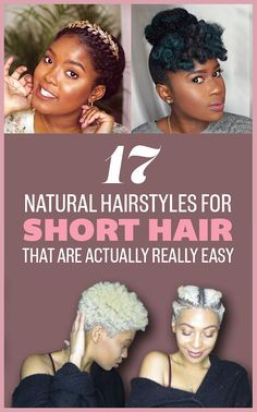 17 Gorgeous Natural Hairstyles That Are Easy To Do On Short Hair hair style for short natural hair - Natural Hair Styles Smart Hairstyles, African Hairstyles, Braided Hairstyles, Black Hairstyles, Female Hairstyles, Beautiful Hairstyles, Elegant Hairstyles, Short Black Natural Hairstyles, Hairstyles Pictures