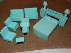 VINTAGE, SUPERIOR PLASTICS, AQUA DOLL HOUSE MIX LOT FURNITURE 8 PIECES | eBay