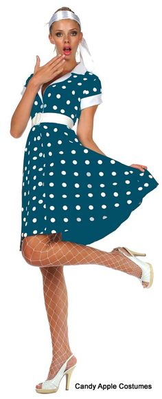 Adult Blue Polka Dot 50's Diva Costume - Candy Apple Costumes - Browse All Women's Costumes