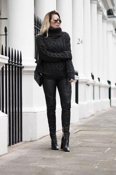 HM x BALMAIN leather trousers, New Look khaki roll neck jumper, black boots (similar in Mango), Saint Laurent bag and Finest Seven sunglasses