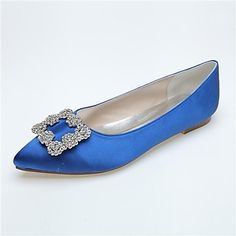 Women's Pointed Toe Flat Heel Satin Flats With Rhinestone Wedding Shoes More Colors available – USD $ 34.99
