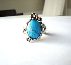 Hot Sale blue TURQUOISE tibet silver gold plated ring Size 8 new gift Christmas