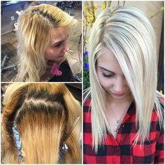 """This one session blonding revamp by @sarahcolehair makes us super, duper happy! Creating beautiful blondes one head at a time ✨ Sarah gives us the lowdown- """"Full foil- Tiny slices with Loreal Infinite Platine and 30vol w/ Olaplex (Overlapping the cold shaft) Base- Loreal Majirel 7.1 with a 1inch ribbon blue mix and a 1inch ribbon green mix w/ 30vol (applied in between foils, on base overlapping the cold shaft) Low light- Loreal Richesse 8.02 and 8.3 w/ 9vol and Olaplex (every other buffer)…"""