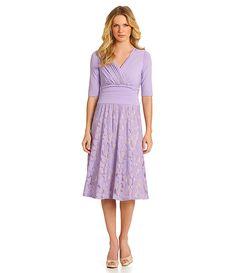 Sangria Faux-Wrap Floral Lace Midi Dress | Dillards.com