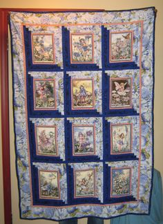 This log cabin style fairy quilt now hangs in my neighbours' entrance way and I'm very proud to have it there!