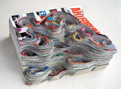 Talk about texture! Artforum Magazines Carved into Dripping Waves of Color by Francesca Pastine sculpture paper Collage Magazine, Magazine Art, Paper Art, Paper Crafts, Paper Book, Art Sculpture, Paper Sculptures, Sculpture Ideas, Recycled Art