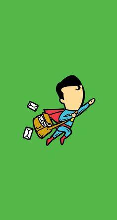 Superman Postman. Download Superheroes Part Timer iPhone Wallpapers! - parallax backgrounds. Marvel #AvengersAgeOfUltron #Avengers #superheroes fly job - @mobile9