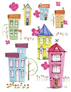 Building Illustration, House Illustration, Christmas Illustration, Graphic Illustration, Painted Houses, Tattoo Watercolor, Colourful Buildings, House Drawing, Art N Craft