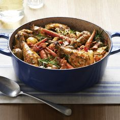 Coq au Vin     This shortcut recipe produces a vibrant chicken stew that tastes like it's been simmering all day. The key to success? Rotisserie chicken and plenty of full-flavored ingredients, like fresh rosemary and white wine.