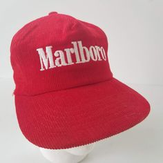 Vintage Marlboro Red Corduroy Snapback Hat Made in the USA Cigarettes Cap  by TraSheeWomen on Etsy 64401f904948
