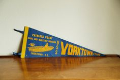 Vintage Naval Pennant Yellow & Blue by MicroscopeTelescope on Etsy
