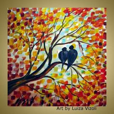 FALL ROMANCE Original Oil Painting Modern Wall Art Birds Autumn Trees in shades of red,orange,yellow,blue on Etsy, Sold Fall Canvas Painting, Simple Oil Painting, Autumn Painting, Autumn Art, Autumn Trees, Painting For Kids, Diy Painting, Canvas Art, Fall Paintings