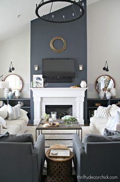 Adding bold color to your room while keeping a neutral and cozy feel at Thrifty Decor Chick! Blue Accent Walls, Accent Walls In Living Room, Design Living Room, Family Room Design, Home Living Room, Living Room Decor, Accents For Grey Walls, Decor Room, Apartment Living