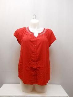 SIZE XL Womens Peasant Top FADED GLORY Solid Red Button Front Short Sleeves #FadedGlory #PeasantTop #Casual