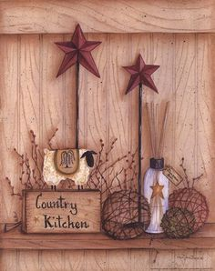 Country Kitchen Sheep Folk Decor Sign Art Print Framed super easy paint a frame and print off a piece of paper doesnt even classify as a project