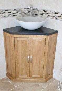 Bathroom , Corner Bathroom Vanity for Small Bathroom : Corner Bathroom Vanity With Black Granite Countertop And White Marble Vessel Sink