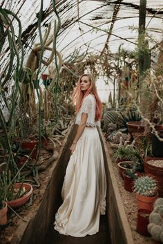 Love this greenhouse for bridal photos! (Sarah Seven wedding dress)