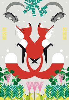 Illustration by Charlie Harper (two symmetrical foxes)
