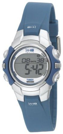 Timex Women's T5J131 1440 Sports Digital Blue/Silver-Tone Resin Strap Watch