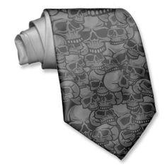 Grey black skull tie for the groom