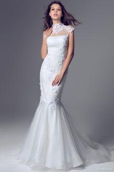 blumarine bridal 2014 cap sleeve high neck mermaid wedding gown illusion neckline