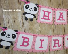 Items similar to panda birthday banner on Etsy Happy Birthday Panda, Panda Birthday Party, Panda Party, 7th Birthday, Birthday Parties, Birthday Decorations, Pink And Gold, Color Schemes, Diy And Crafts