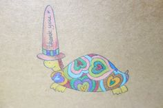 Turtle Thank You Card. Hand Drawn Animal Card. by NariDesignPot