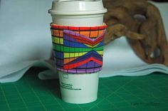 Distorted Perspectives Rainbow - Coffee Sleeve #5 by CafeProjections on Etsy