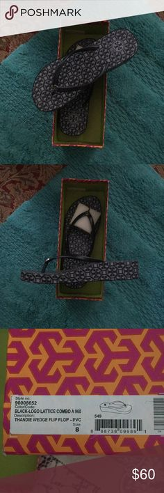 d5ed275143b90c New Tory Burch size 8 wedge flip flops Nice black and gray wedge Tory Burch  Shoes