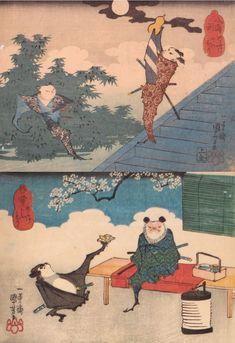 SAMURAI BATS. Utagawa Kuniyoshi (歌川 國芳 1798-1861)