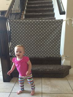 Fabric Baby Gate -- Perfect to keep baby off the stairs.  Need this!!