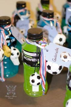 Fun party favor or place setting for a soccer-themed birthday party. Soccer Party Favors, Soccer Birthday Parties, Football Birthday, Sports Birthday, Sports Party, 9th Birthday, Birthday Ideas, Party Favours, Soccer Treats
