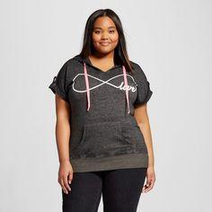 Women's Plus Size Infinity Love Tab Sleeve Graphic Hoodie Black
