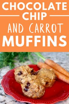 These chocolate chip carrot muffins are a great sweet treat for your kiddos.  This healthy muffin recipe is easy to make and delicious. #muffins