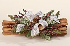 """12"""" Natural Cinnamon Bundle with Faux Pine, Burgundy Rose Hips and a Burlap & Lace Bow"""