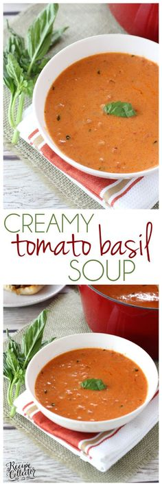 Easy Creamy Tomato Basil Soup - A quick and easy recipe for such a comforting classic soup. It goes perfect with a sandwich for lunch or dinner. Quick Dinner Recipes, Healthy Soup Recipes, Chili Recipes, Quick Easy Meals, Slow Cooker Recipes, Cooking Recipes, Dip Recipes, Creamy Tomato Basil Soup, Salads