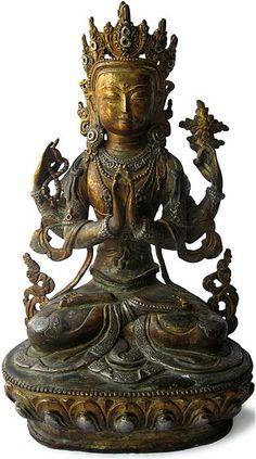"Tibet Tibetan Buddhism handmade old Budda statue alloy gilt White Tara  3.5"""