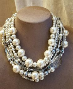 Chunky ivory pearl crystal statement necklace,chunky bridal necklace,trending necklace,multistrand pearl choker,boho wedding necklace – Most Beautiful Necklaces Crystal Statement Necklace, Pearl Choker, Pearl Jewelry, Beaded Jewelry, Jewelery, Bullet Jewelry, Chunky Pearl Necklaces, Gothic Jewelry, Jewelry Necklaces