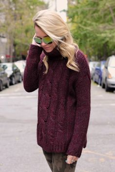 cable-knit burgundy+camo skinnies