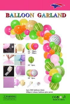 Balloon Topiary, Balloon Arch Diy, Balloon Garland, Balloon Decorations, Birthday Party Decorations, Kids Luau Parties, Thomas Birthday Parties, Fruit Birthday, Summer Birthday