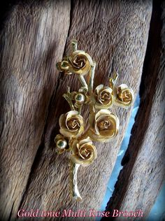REDUCED 20% Vintage gold tone multi rose brooch Roses by STUFFEZES